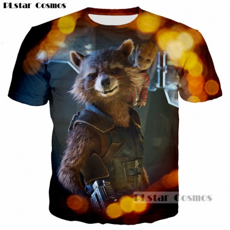 Sublime tee-shirt 3D de Rocket avec Groot
